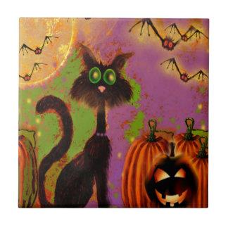 Diseño del gato negro de Halloween Tejas Cerámicas