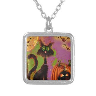 Diseño del gato negro de Halloween Colgante