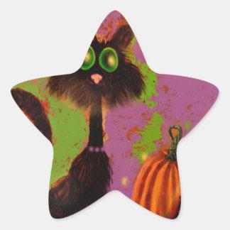 Diseño del gato negro de Halloween Calcomania Cuadrada Personalizada