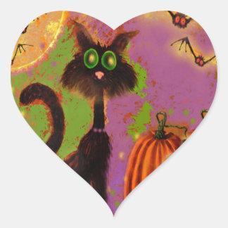 Diseño del gato negro de Halloween Pegatina En Forma De Corazón