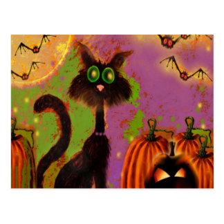 Diseño del gato negro de Halloween Postales