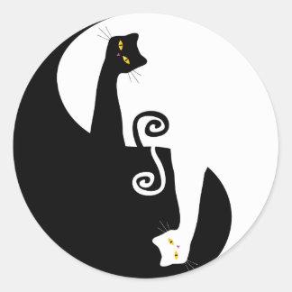 diseño del gato pegatina redonda
