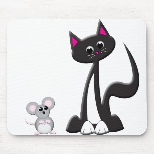 Diseño del gato y del ratón mouse pads
