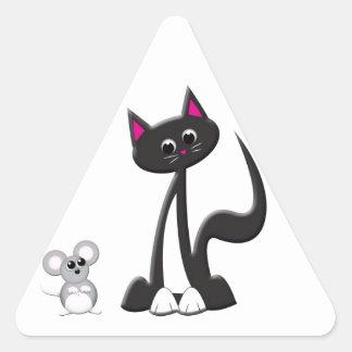 Diseño del gato y del ratón pegatina triangular