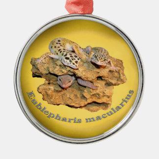 ¡Diseño del gecko del leopardo para todos! Adorno Navideño Redondo De Metal