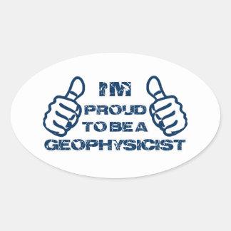 Diseño del geofísico pegatina ovalada