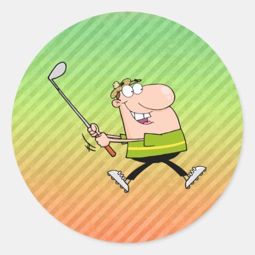 Diseño del golfista del dibujo animado pegatina redonda