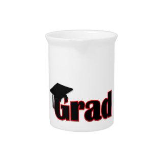 Diseño del graduado del personalizar en rojo jarra para bebida