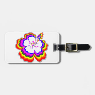 Diseño del hibisco del arco iris etiqueta de maleta