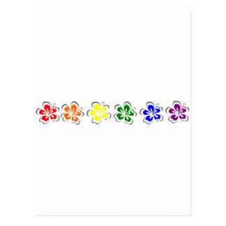 Diseño del hibisco del arco iris tarjetas postales