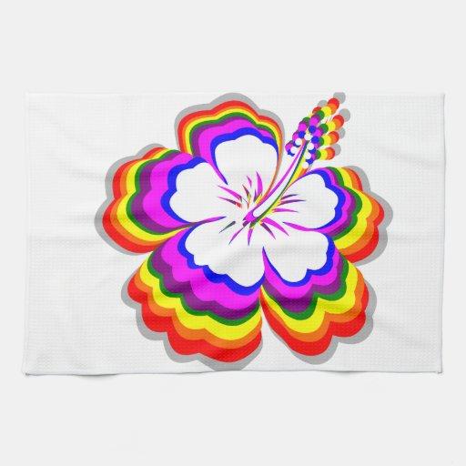 Diseño del hibisco del arco iris toalla