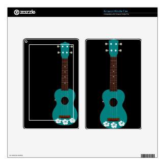 diseño del hibisco del ukulele del trullo pegatina skin para kindle fire