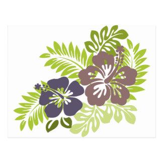 Diseño del hibisco y de las hojas postal