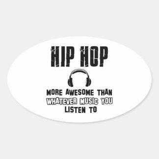 diseño del hip-hop pegatina ovalada