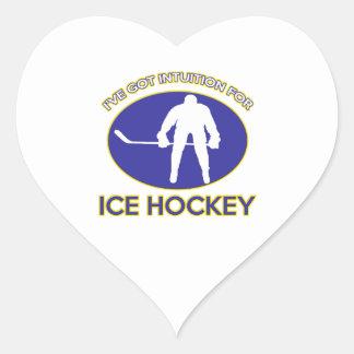Diseño del hockey sobre hielo pegatina en forma de corazón