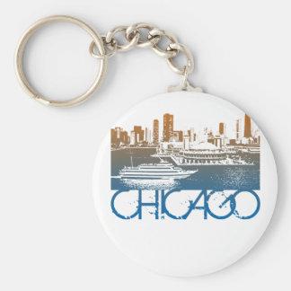 Diseño del horizonte de Chicago Llavero Redondo Tipo Pin