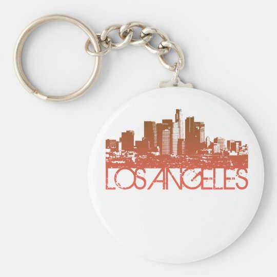 Diseño del horizonte de Los Ángeles Llavero Redondo Tipo Pin