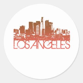 Diseño del horizonte de Los Ángeles Pegatina Redonda