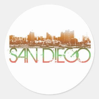 Diseño del horizonte de San Diego Pegatina Redonda