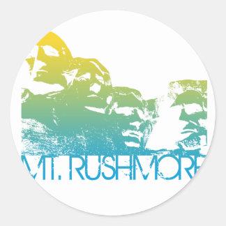Diseño del horizonte del monte Rushmore Pegatina Redonda