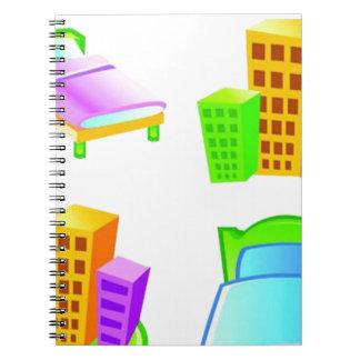 Diseño del icono del hotel libros de apuntes con espiral