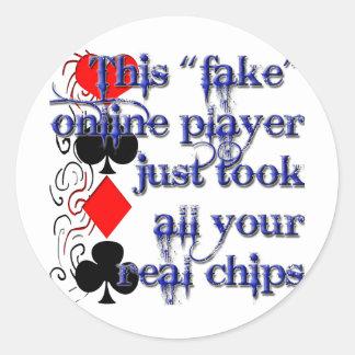Diseño del jugador de póker pegatina redonda