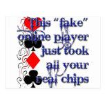 Diseño del jugador de póker postales