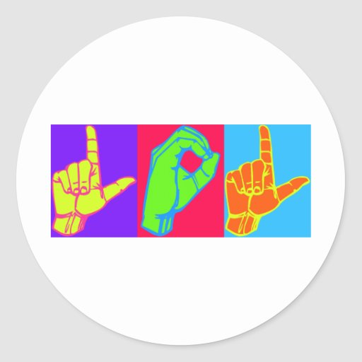 Diseño del lenguaje de signos de LOL ASL Pegatina Redonda