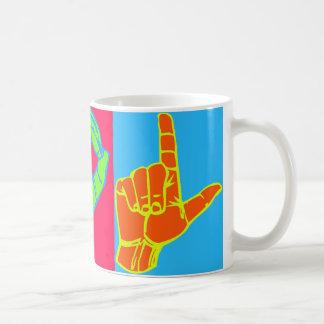 Diseño del lenguaje de signos de LOL ASL Taza Básica Blanca
