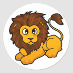Diseño del león pegatinas redondas