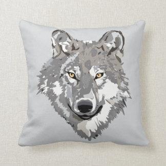 Diseño del lobo gris cojín decorativo