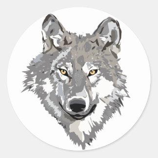 Diseño del lobo gris pegatina redonda