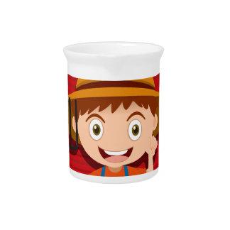 Diseño del logotipo con el granjero y el granero jarra de beber