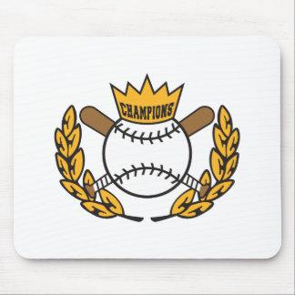 diseño del logotipo de los campeones del béisbol alfombrilla de ratón