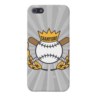 diseño del logotipo de los campeones del béisbol iPhone 5 funda