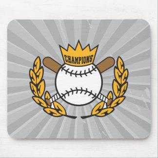 diseño del logotipo de los campeones del béisbol mouse pads