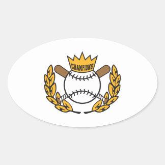 diseño del logotipo de los campeones del béisbol pegatina ovalada