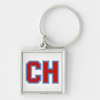 Diseño del logotipo del CH de las alturas de Cambr Llavero Cuadrado Plateado