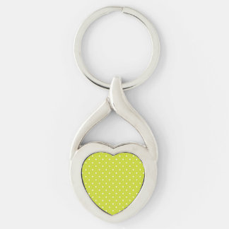 Diseño del lunar de la cal llavero plateado en forma de corazón