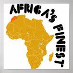 Diseño del mapa de Marruecos, África Poster
