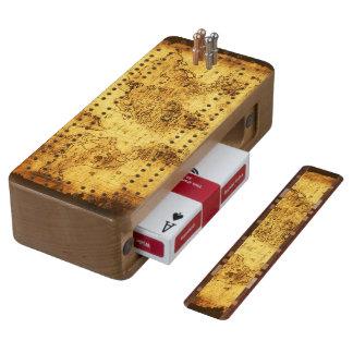 Diseño del mapa de Viejo Mundo del vintage del oro Cribbage De Cerezo