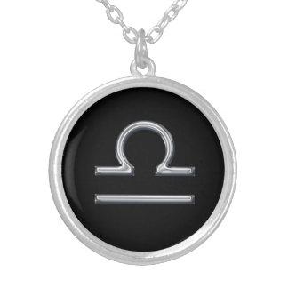 Diseño del metal del zodiaco del libra Muestra-Fal Collar Plateado