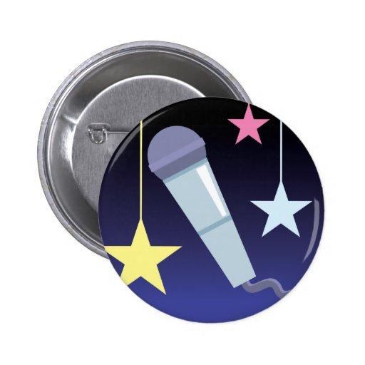 diseño del micrófono y de las estrellas del cantan pins