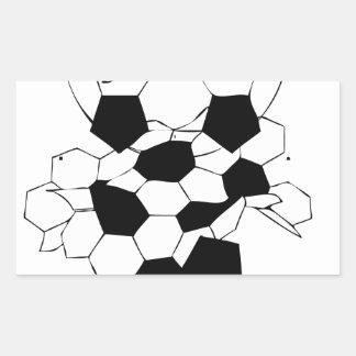 Diseño del modelo de la bola del fútbol del fútbol pegatina rectangular