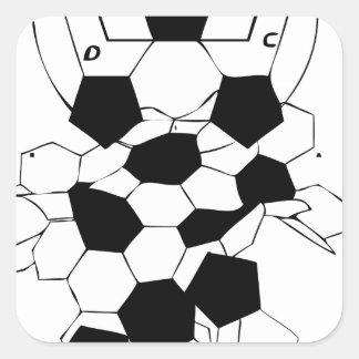 Diseño del modelo de la bola del fútbol del fútbol pegatina cuadrada