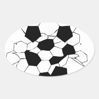 Diseño del modelo de la bola del fútbol del fútbol pegatina ovalada