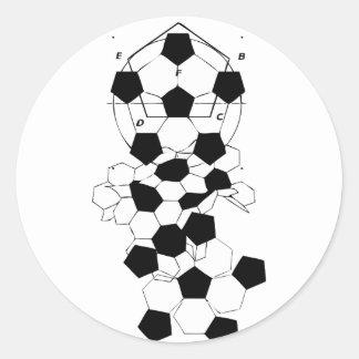Diseño del modelo de la bola del fútbol del fútbol pegatina redonda