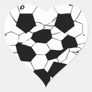 Diseño del modelo de la bola del fútbol del fútbol pegatina en forma de corazón