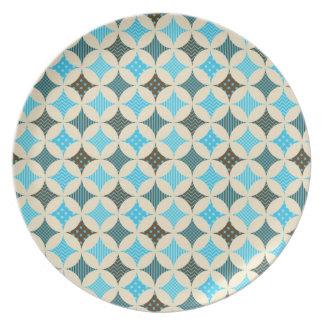 Diseño del modelo del círculo del diamante del gri plato para fiesta