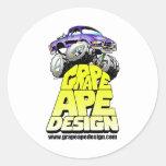 Diseño del mono de la uva etiqueta redonda